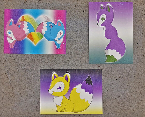 Details of Artist Trading Cards pride foxes LGBT LGBTQI pride flag colors illustrated by Max Improving