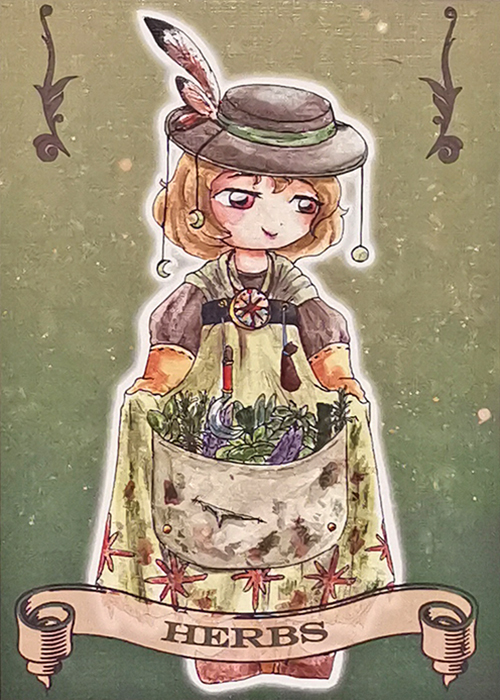 Witch coven Artist Trading card Herbs illustrated by Max Improving