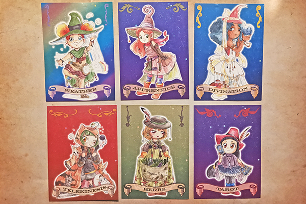 Witch coven Artist Trading card Weather Apprentice Divination Telekonesis Herbs Tarot illustrated by Max Improving