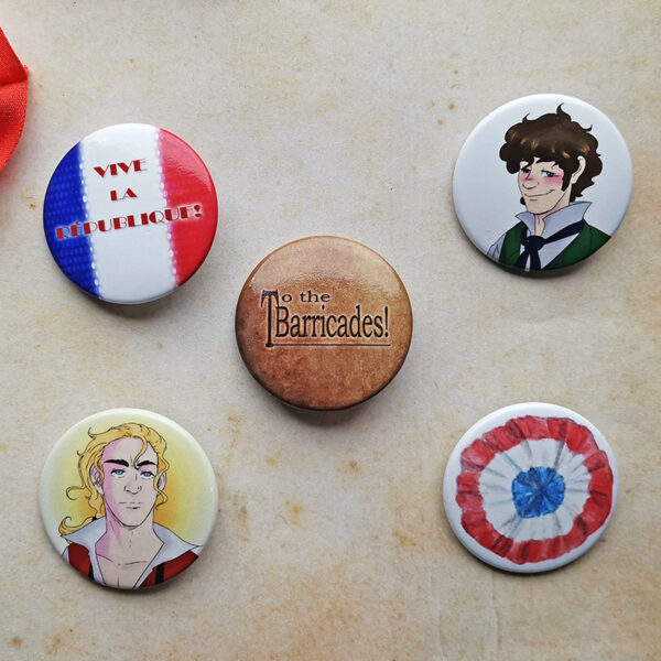 Buttons with french Cockade Rosette Enjolras Grantaire to the barricades Vive la Républiqueinspired by Les Misérables illustrated by Max Improving