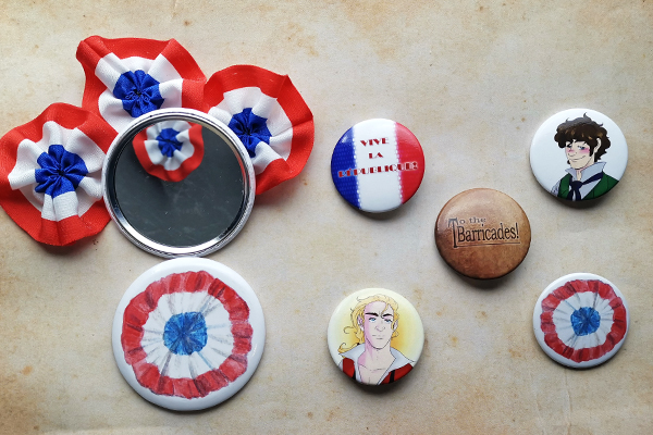 Mirror Buttons with french Cockade Rosette Enjolras Grantaire to the barricades Vive la Républiqueinspired by Les Misérables illustrated by Max Improving