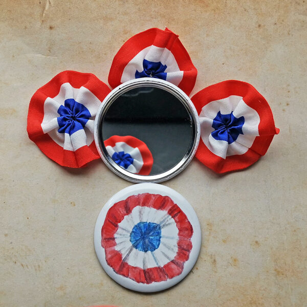 Mirror Buttons with french Cockade Rosette inspired by Les Misérables illustrated by Max Improving