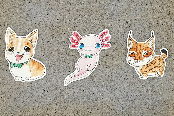 Cute Chubbbys style handcut single sticker corgi, axolotl, lynx