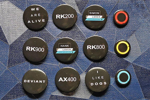 Various Detroit: Become Human themed buttons RK200 RK800 RK900 AX400 I like dogs We are alive Deviant LED Lover Path Unlocked