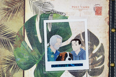 Polaroid formed transparent charm showing Hank Connor and Sumo from Detroit: Become Human on a fitting background