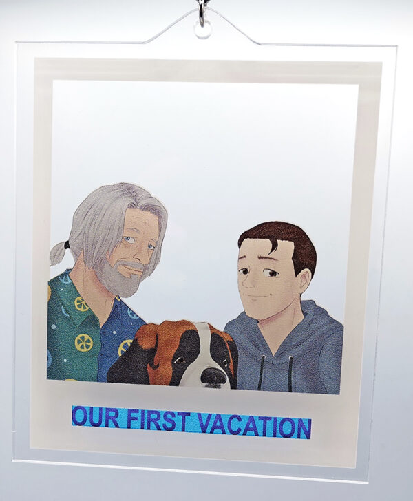 Polaroid formed transparent charm showing Hank Connor and Sumo from Detroit: Become Human