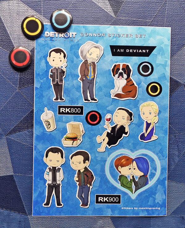 Detroit: Become Human A5 sticker sheet featuring characters Connor RK800 Nines RK900 Gavin Cloe Sumo Tracis Kamski Ripley Echo