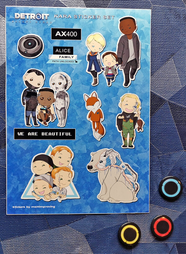 Detroit: Become Human A5 sticker sheet featuring characters Kara Alice Luther Jerrys Ralph Icebear Zlatko's andoids