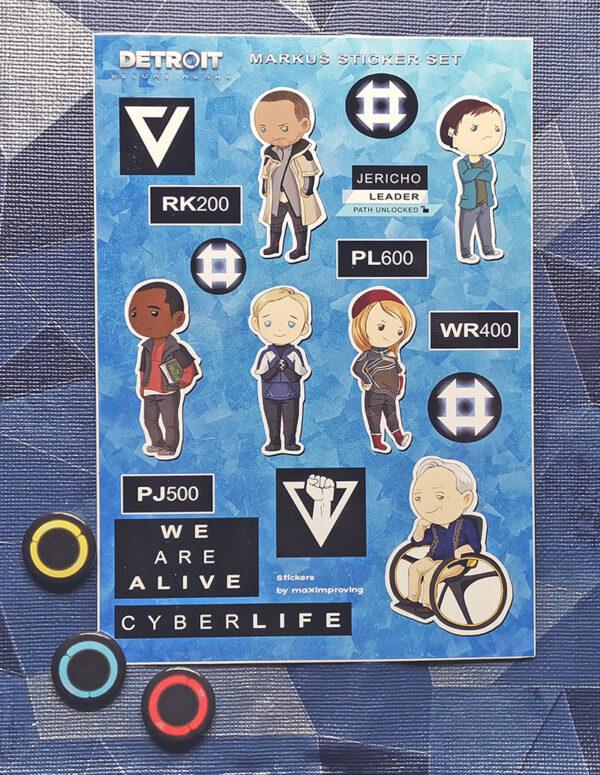 Detroit: Become Human A5 sticker sheet featuring characters Markus Leo Carl Josh North Simon