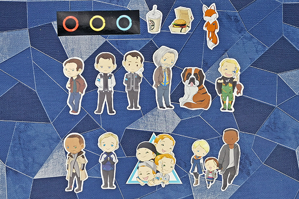 Handcut single sticker of character from Detroit: Become Human Gavin Nines RK900 Connor RK800 Markus RK200 Simon Ralph Sumo Luther Alice Kara Jerrys