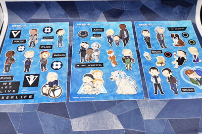 Sticker sheets in size A5 with characters of the playable figures route Kara Connor Markus