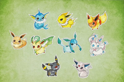 Handcut Chubbbys Eevee Evolution Single Sticker Eevee, Vaporeon, Jolteon, Flareon, Espeon,Umbreon, Leafeon, Glaceon and Sylveon