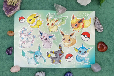 A5 sticker sheet with all Eevee Evolutions in Chubbbys style Eevee, Vaporeon, Jolteon, Flareon, Espeon,Umbreon, Leafeon, Glaceon and Sylveon