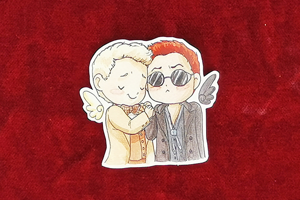 Good Omens hnadcut single sticker of Aziraphale and Crowley the Ineffable Husbands