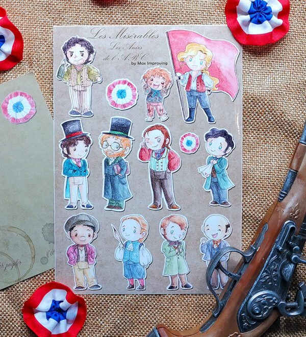 Les Miserables A 5 sticker sheet showing Enjolras Grantaire Gavroche Courfeyrac Combeferre Bahorel Marius Feuilly Jehan Jean Prouvaire Joly Bossuet Les Amis