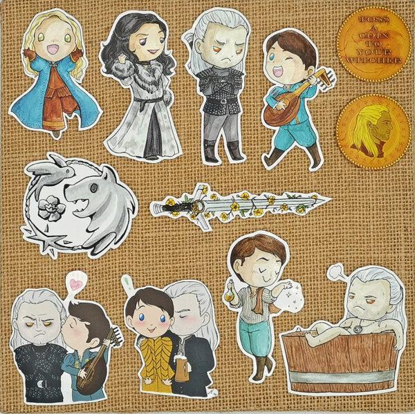 Handcut single sticker of Ciri Yennefer Geralt Jaskier Geraskier White Wolf bathtub toss a coin to your witcher buttercup sword