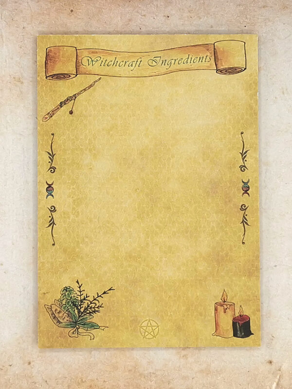 A6 sized notepad with 50 sheets with witchcraft motives
