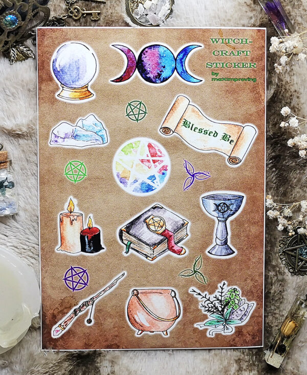Detail shot of the A5 sticker sheet with various witchcraft motives