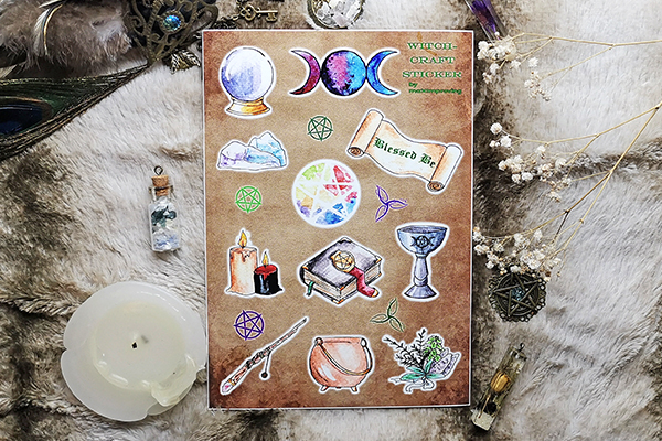 Sticker sheet in size A5 with various witchcraft motives