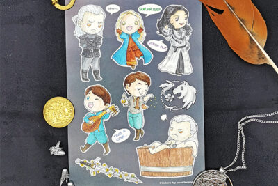 A5 sticker sheet of The Witcher characters Ciri Yennefer Jaskier Geralt White Wolf Sword Silver Buttercup Bathtub