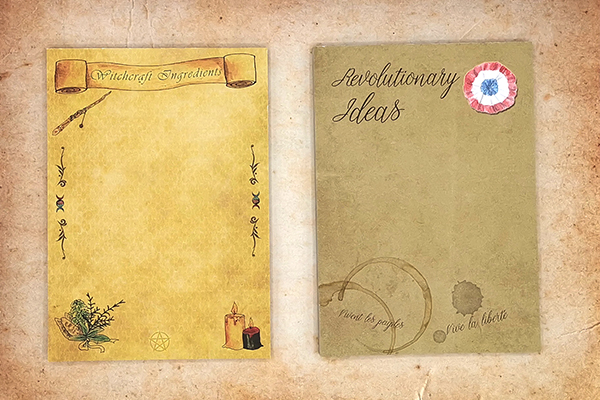 A6 sized notepads with 50 sheets with witchcraft motives and a revolutionary Les Miserables theme
