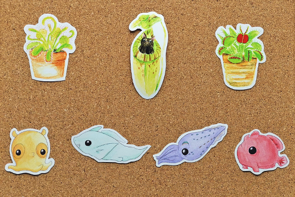 Cute carnivorous plants and cute deep sea animals single stickers