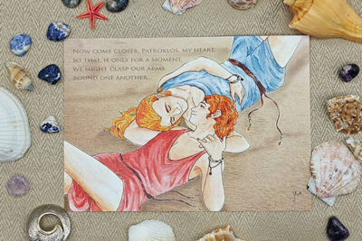 Achilles and Patroclus (Patroklos) illustrated by Max Improving decorated with shells and stones