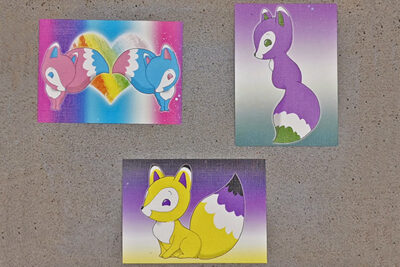 Artist Trading Cards pride foxes LGBT LGBTQI pride flag colors illustrated by Max Improving
