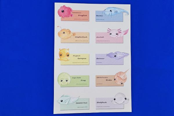 A4 Print of Deep Sea Creatures Frogfish Waller Anglerfisch Axolotl Octopus Kalmar Geisterhau illustrated by Max Improving
