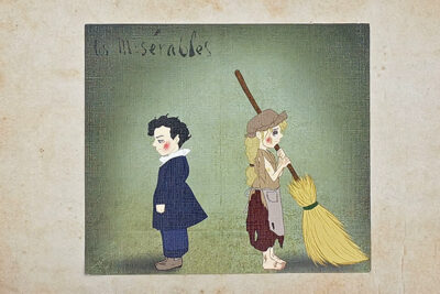 Les Misérable Cosette and Marius as poor children illustrated by Max Improving